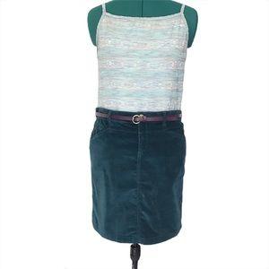 Mexx Dark Teal Mini Skirt with Purple Belt Size 38
